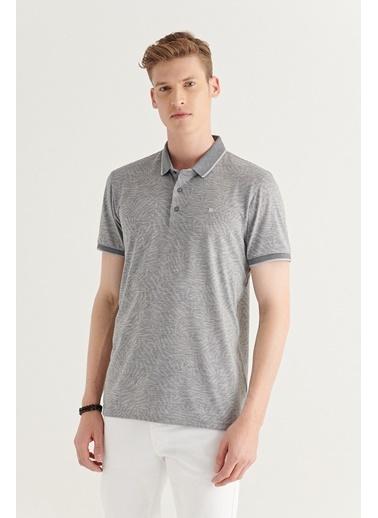 Avva AVVA Erkek Gri Polo Yaka Jakarlı T-Shirt A11Y1164 Gri